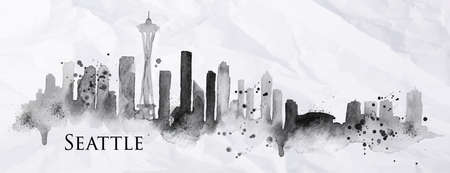 Silhouette Seattle neighborhood painted with splashes of ink drops streaks landmarks drawing in black ink on crumpled paper