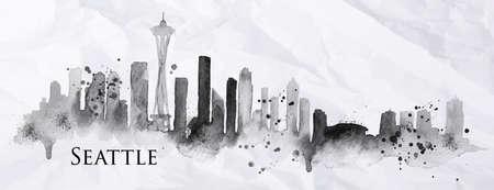Wijk silhouet Seattle beschilderd met spatten van inktdruppels strepen oriëntatiepunten tekening in zwarte inkt op verfrommeld papier Stock Illustratie
