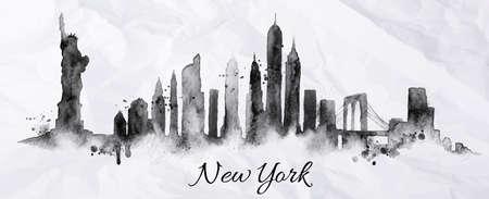 Silhouette New york città dipinta con schizzi di inchiostro scende striature monumenti disegno in inchiostro nero su carta stropicciata Vettoriali
