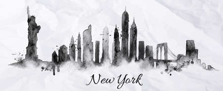 new york city panorama: Silhouette New york city painted with splashes of ink drops streaks landmarks drawing in black ink on crumpled paper