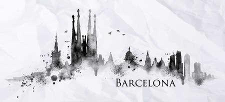 剪影巴塞羅那城市塗上墨水飛濺滴條紋標誌的皺巴巴的紙用黑色墨水繪製 向量圖像