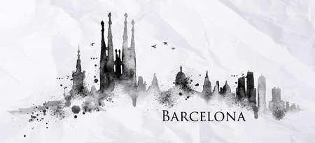 ink stain: Silhouette Barcelona city painted with splashes of ink drops streaks landmarks drawing in black ink on crumpled paper