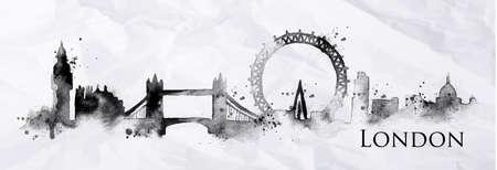 Silhouette London Stadt mit Spritzern von Tinte gemalt fällt Schlieren Sehenswürdigkeiten Zeichnung in schwarzer Tinte auf einem zerknitterten Papier