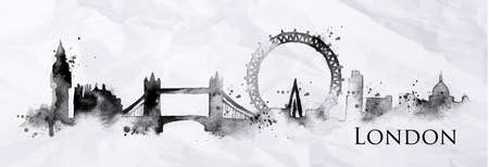 Silhouette London city painted with splashes of ink drops streaks landmarks drawing in black ink on crumpled paper