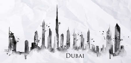 dubai: Silhouette of Dubai city painted with splashes of ink drops streaks landmarks drawing in black ink on crumpled paper