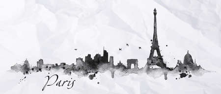 Silhouette Paris city painted with splashes of ink drops streaks landmarks drawing in black ink on crumpled paper Vectores