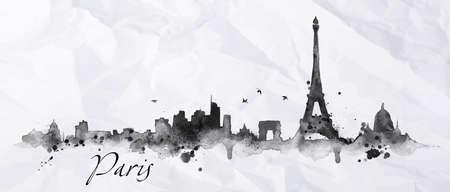 Città silhouette Paris dipinta con schizzi di inchiostro scende striature monumenti disegno in inchiostro nero su carta stropicciata Vettoriali