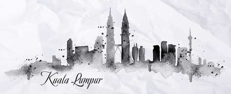 Silhouette of Kuala Lumpur city painted with splashes of ink drops streaks landmarks drawing in black ink on crumpled paper Ilustração