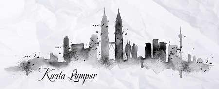 Silueta de la ciudad de Kuala Lumpur pintado con salpicaduras de gotas de tinta rayas hitos de dibujo en tinta negro sobre papel arrugado