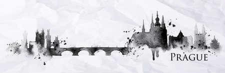 잉크 밝아진 그린 실루엣 프라하 도시는 구겨진 종이에 검은 색 잉크 그리기 줄무늬 랜드 마크 상품 일러스트