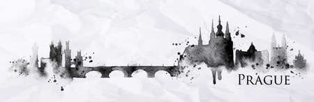 ink drops: Silhouette Prague city painted with splashes of ink drops streaks landmarks drawing in black ink on crumpled paper
