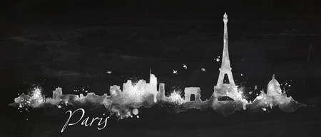 Silhouette Paris city painted with splashes of chalk drops streaks landmarks drawing with chalk on blackboard 版權商用圖片 - 37706664