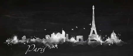 Silhouette Paris city painted with splashes of chalk drops streaks landmarks drawing with chalk on blackboard