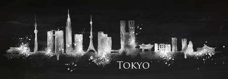 Silhouet van de stad Tokio beschilderd met spatten van krijt daalt strepen oriëntatiepunten tekenen met krijt op bord Vector Illustratie