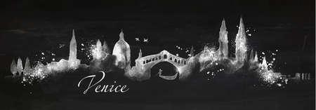 Het silhouet van de stad van Venetië geschilderd met spatten van krijt daalt strepen oriëntatiepunten tekenen met krijt op bord