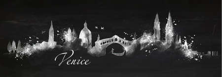venice: Silhouette Venice city painted with splashes of chalk drops streaks landmarks drawing with chalk on blackboard