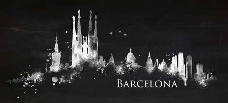 Silhouette Barcelona city painted with splashes of chalk drops streaks landmarks drawing with chalk on blackboard