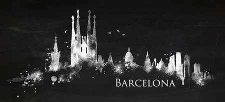 sagrada familia: Silhouette Barcelona city painted with splashes of chalk drops streaks landmarks drawing with chalk on blackboard