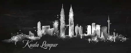 kuala lumpur: Silhouette of Kuala Lumpur city painted with splashes of chalk drops streaks landmarks drawing with chalk on blackboard