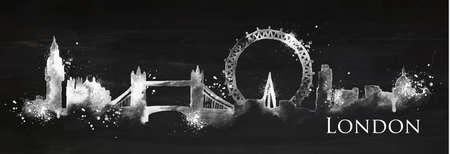 Het silhouet van London city beschilderd met spatten van krijt daalt strepen oriëntatiepunten tekenen met krijt op bord