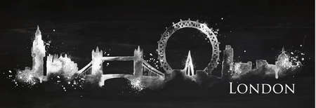 Silhouette London city painted with splashes of chalk drops streaks landmarks drawing with chalk on blackboard