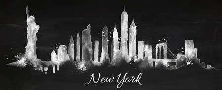 Silhouette New york città dipinta con spruzzi di gesso gocce striature punti di riferimento di disegno con il gesso sulla lavagna Vettoriali