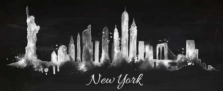 new york skyline: Silhouette New york city painted with splashes of chalk drops streaks landmarks drawing with chalk on blackboard