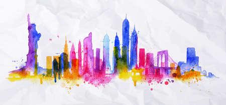 ニューヨーク市を描いた水彩画の飛散とシルエット オーバーレイ滴ブルー バイオレットの色調と縞のランドマーク