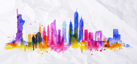 new york city panorama: Silhouette overlay new york city painted with splashes of watercolor drops streaks landmarks with blue violet tones Illustration