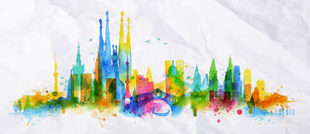 splashing: Silhouette overlay barcelona city painted with splashes of watercolor drops streaks landmarks in blue with yellow tones Illustration