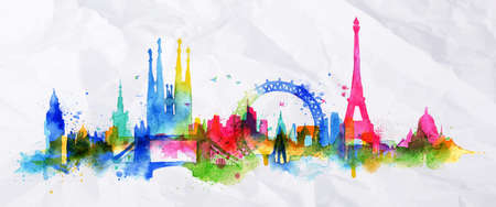 Silhouette overlay city with splashes of watercolor drops streaks landmarks in pink with orange tones Vectores