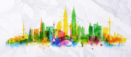 Città silhouette sovrapposizione dipinto con spruzzi di gocce acquerello strisce punti di riferimento con i colori giallo-verde Vettoriali