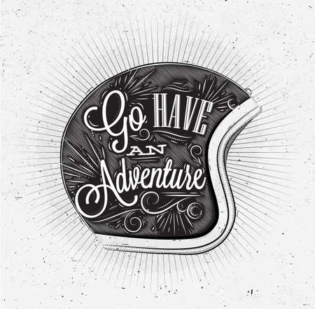affiche touristique avec lettrage Aller prendre une aventure sur le casque de moto dans le style vintage sur le vieux papier