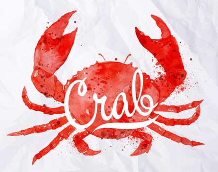 cangrejo: Cangrejo de la acuarela con cangrejo letras en la parte posterior está pintada en el papel arrugado
