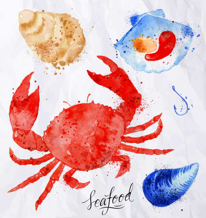 crab: Set watercolor drawn seafood, crab, clams, mussels, oysters, shell, hook on crumpled paper