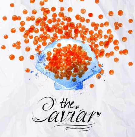 caviar: Watercolor red caviar with lettering the caviar on the back is painted on crumpled paper