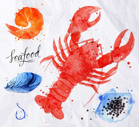Set watercolor drawn seafood, cancer, caviar, mussels, shrimp, shell, hook on crumpled paper Vectores
