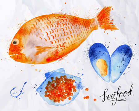seafood: Set watercolor drawn seafood, fish, red caviar, mussel, shell, seafood, spray, hook on crumpled paper