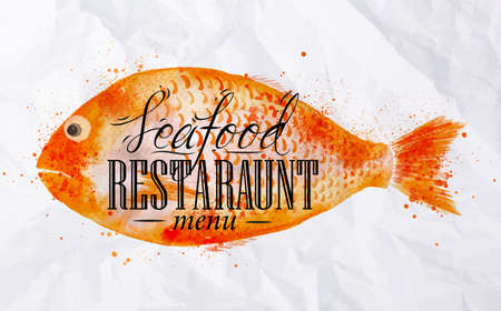 seafood dinner: Watercolor fish with lettering Seafood restaurant menu on the back is painted on crumpled paper