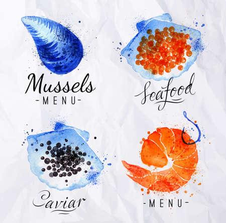 camaron: Signos Acuarela pescados y mariscos camarones, caviar, mejillones con letras en el papel arrugado