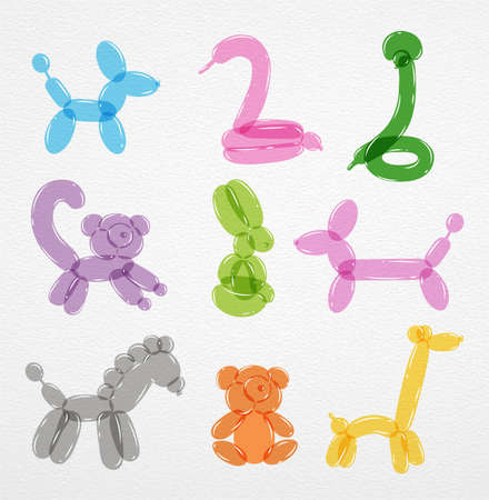 Animals from balloons colored dog swan dachshund giraffe lemur rabbit bear horse snake