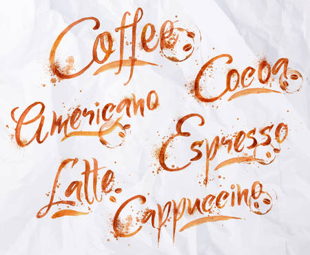 kinds: Drawn names of different kinds of coffee, latte, cappuccino, americano, espresso, cocoa drops of coffee on crumpled paper