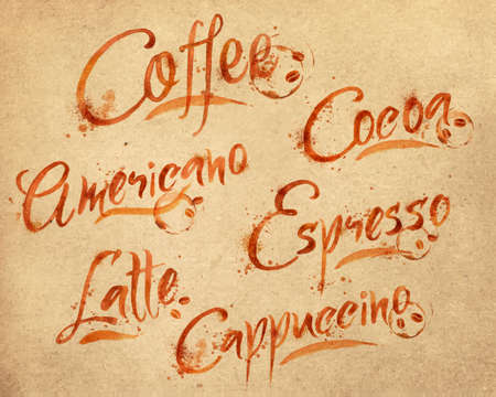 Drawn names of different kinds of coffee, latte, cappuccino, americano, espresso, cocoa drops of coffee on kraft paper Illustration