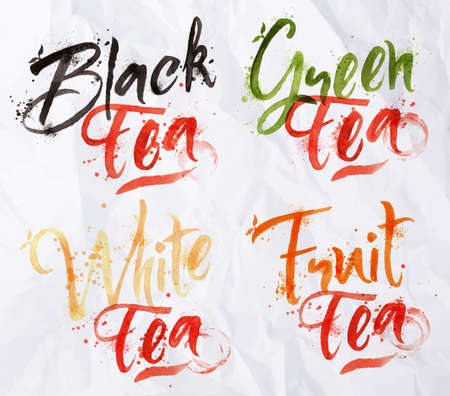 names: Drawn names of different kinds of tea, black, green, white, fruit drops of tea on crumpled paper Illustration
