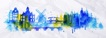 Silhouette overlay city Amsterdam with splashes of watercolor drops streaks landmarks in blue tones