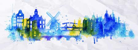Silhouette Overlay Stadt Amsterdam mit Spritzern von Aquarelltropfen Schlieren Sehenswürdigkeiten in Blautönen Illustration