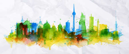 Silhouette overlay city Berlin with splashes of watercolor drops streaks landmarks in green with blue tones