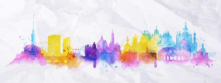 シルエット オーバーレイ都市キエフ、水彩画の水しぶき持つローマ ブルーの色調とピンクの縞のランドマークをドロップします。