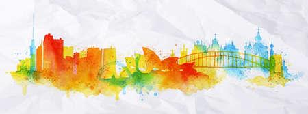 실루엣 오버레이 도시 키예프, 수채화의 밝아진 시드니 오렌지 톤 빨간색 줄무늬 랜드 마크 상품