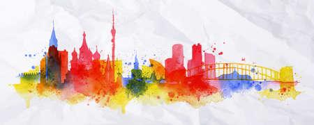 Silueta superposición de la ciudad de Moscú con salpicaduras de gotas de acuarela rayas hitos en rojo con tonos anaranjados
